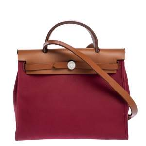 Hermes Red Canvas and Leather Herbag Zip 31 Bag