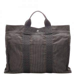 Hermes Grey Canvas Fourre Tout MM Tote Bag