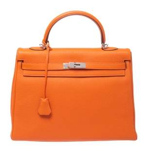 Hermes Orange Togo Leather Palladium Hardware Kelly Retourne 35 Bag