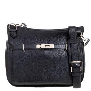 Hermes Black Clemence Leather Palladium Hardware Jypsiere 28 Bag