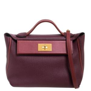 Hermes Bordeaux/Rouge H Togo and Sombrero Gold Hardware 24/24 29 Bag