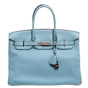 Hermes Ciel Clemence Leather Palladium Hardware Birkin 35 Bag