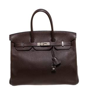 Hermès Cacao Togo Leather Palladium Hardware Birkin 35 Bag