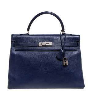 Hermes Blue Encre Clemence Leather Palladium Hardware Kelly Retourne 35 Bag