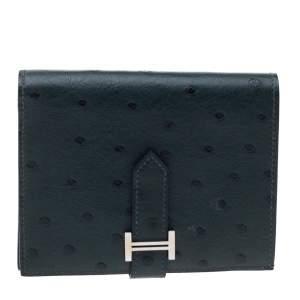 Hermes Dark Green Ostrich Bearn Wallet