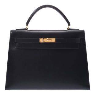 Hermes Navy Blue Leather Kelly Retourne 32 Box Bag