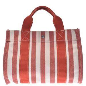 Hermes Multicolor Striped Canvas Cannes Tote PM Bag