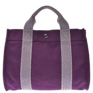 Hermes Purple Canvas Cannes Tote PM Bag