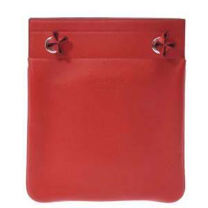 Hermes Rouge Leather Herline Mini Shoulder Bag