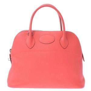 Hermes Rose Clemence Leather Bolide 31 Bag
