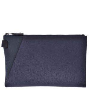 Hermes Navy Blue/Green Leather Cap Vertige 24 Pouch Bag