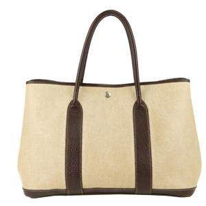 Hermes Brown Canvas Garden Party PM Bag