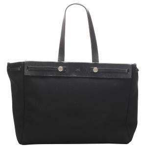 Hermes Black Canvas Herbag Cabas MM Bag