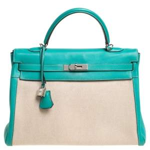 Hermes Lagon Toile and Swift Leather Palladium Hardware Kelly Retourne 35 Bag