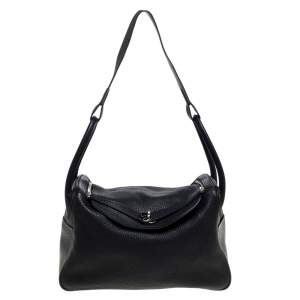 Hermes Black Taurillon Clemence Leather Palladium Hardware Lindy 34 Bag
