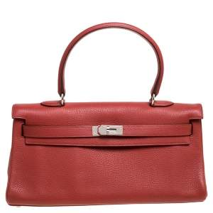 Hermes Sanguine Taurillon Clemence Leather Palladium Hardware Shoulder Kelly 42 Bag