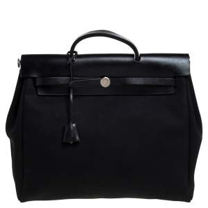 Hermes Black Canvas and Leather Herbag Zip 39 Bag