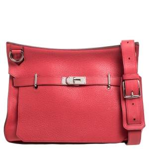 Hermes Rose Jaipur Clemence Leather Palladium Hardware Jypsiere 37 Bag