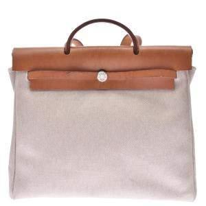 Hermes Beige and Brown Canvas Herbag MM Bag