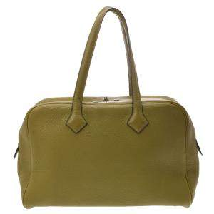 Hermes Green Leather Clemence Victoria 35 Bag