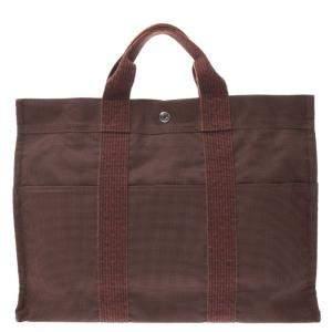 Hermes Brown Canvas Herline MM Bag
