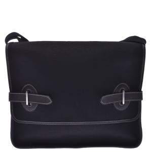 Hermes Black Toile Canvas Cartable Buenaventura Bag