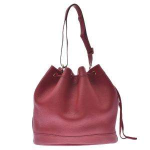 Hermes Red Leather Clemence Market Bucket Bag