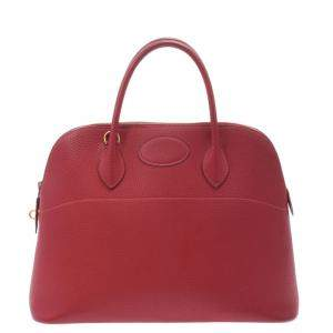 Hermes Red Fjord Leather Bolide 35 Bag