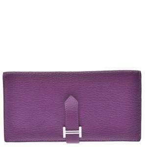 Hermes Purple Leather Trifold Bearn Wallet