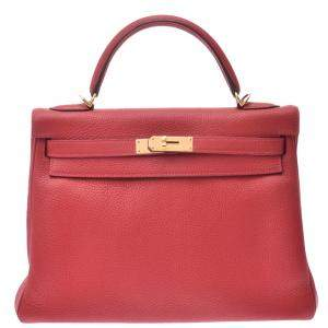 Hermes Red Clemence Leather Kelly Retourne 32 Bag