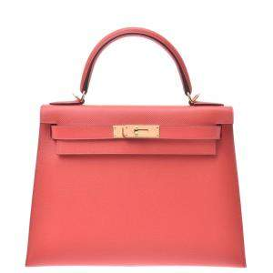 Hermes Pink Epsom Leather Kelly Sellier 28 Bag