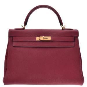 Hermes Red Togo Leather Kelly Retourne 32 Bag