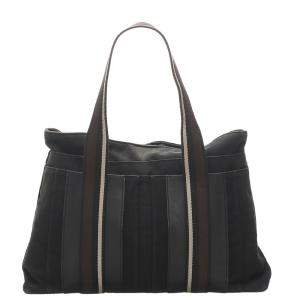 Hermes Black/Brown Sac Troca Horizontal MM Tote Bag