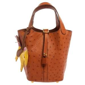 Hermes Naturale Ostrich Picotin PM Bag