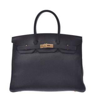 Hermes Black Togo Leather Birkin 35 Bag