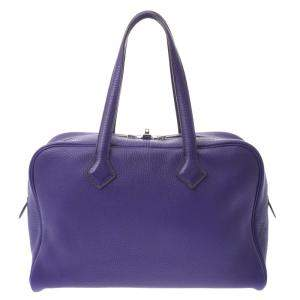 Hermes Purple Clemence Leather Victoria 35 Bag