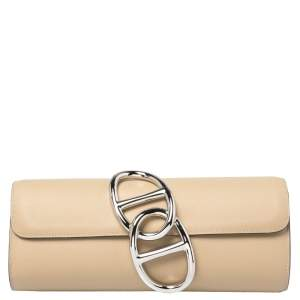Hermes Beige Leather Egee Clutch