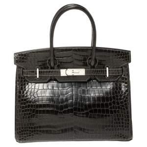 Hermes Ardoise Shiny Porosus Crocodile Palladium Hardware Birkin 30 Bag