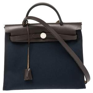 Hermes Navy Blue/Brown Canvas and Leather Herbag Zip 31 Bag