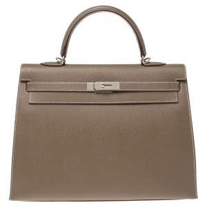 Hermes Etoupe Epsom Leather Palladium Hardware Kelly Sellier 35 Bag