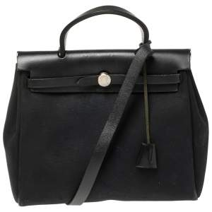 Hermès Black Canvas and Leather Herbag Zip 31 Bag