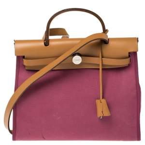 Hermes Bougainvillea Canvas and Leather Herbag Zip 31 Bag