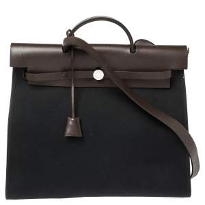 Hermes Black/Cacao Canvas and Leather Herbag Zip 39 Bag