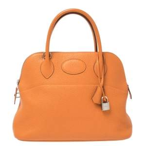 Hermes Orange Togo Leather Bolide 31 Bag