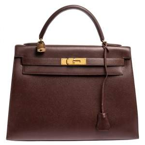 Hermes Chocolat Courchevel Leather Gold Hardware Kelly Sellier 32 Bag