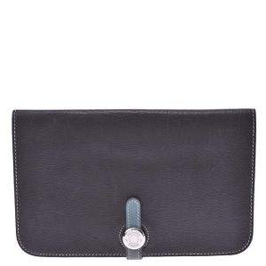 Hermes Black Leather Dogon Combined Wallet