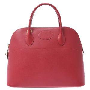 Hermes Red Courchevel Leather Bolide 35 Bag
