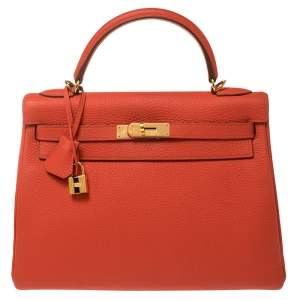 Hermes Rouge Pivoine Togo Leather Gold Hardware Kelly Retourne 32 Bag