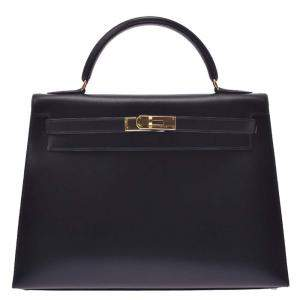Hermes Black Box Leather Kelly Sellier 32 Bag