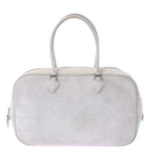 Hermes White Leather Plume Bag